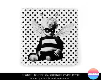 Bee Drink Coasters Bumble Motif Baby With Polka