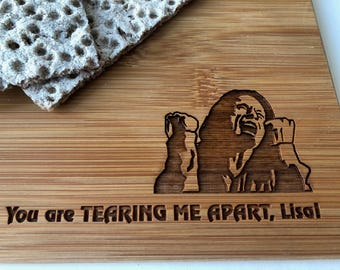 The Room Tommy Wiseau Cutting Board! Bamboo Charcuterie Display, Laser-Cut You Are Tearing Me Apart Lisa Cheese Board Platter!