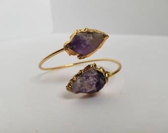 Amethyst Arrowhead Bangle Bracelet // Bridesmaid Gift // Natural Raw Gemstone Jewelry // Gold Plated Amethyst Bracelet // Boho Bracelet