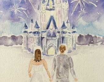 Custom Magical Kingdom Watercolor Wedding Fairytale Portrait