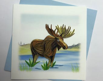 Moose Quilling Greeting Card