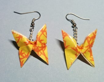 """Butterflies"" earrings with hook and silver chain (B_016)"