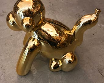 Monkey balloon pop art figure money bank statue New  Gold large