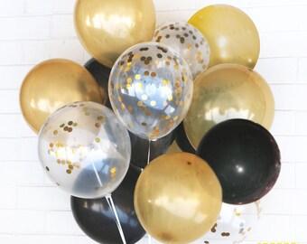 Gold & Black Confetti Balloons - Celebration, Wedding, Birthday, Party - AU Free Shipping