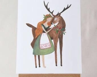 Love You Deerly 8x10 Art Print