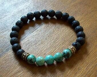 Mens Gemstone bracelet, Men bracelet, Gift for men, Men's bracelet, Boyfriend gift, Mens bracelet, Lava Rock bracelet, Turquoise bracelet