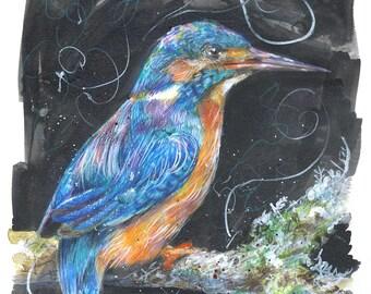 Kingfisher Painting, Original, Watercolour, coloured pencil, Ink, artwork