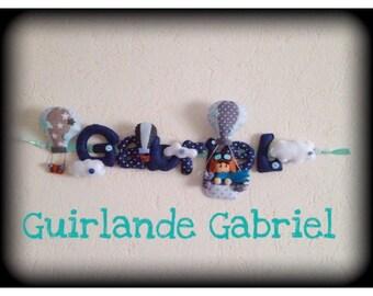 Guirlande personnalisée prénom sur le thème montgolfières
