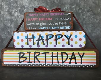 BIRTHDAY wooden stacking block decor
