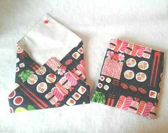 Custom Made- Reusable Sandwich bag Set- Reusable Snack bag- Green Living-Reusable Sandwich bags-Water resistant Lining- Zero Waste-Sushi fun
