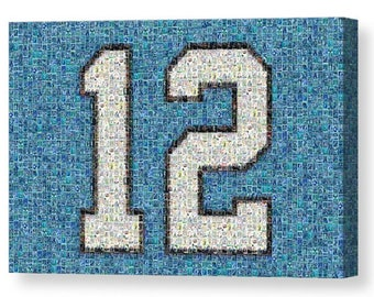 """New! Unique, Large Seattle Seahawks """"12"""" Mosaic Art Print made of over 200 Seahawk Player Cards.  All the Greats Included!"""