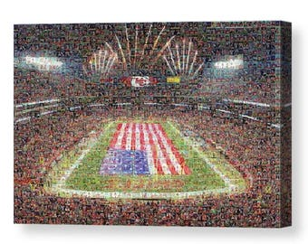 Unique Kansas City Chiefs Mosaic Art Print with Over 290 Player Trading Card Images (1963 - Present).  All the Greats are Included.