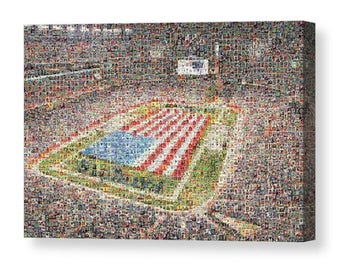 Unique New England Patriots Mosaic Art Print of Gillette Stadium from over 250 Player Trading Card Images.  All the Greats are Included.