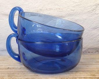 Pair of cobalt blue vintage boho mugs cups