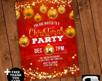 Christmas Party Invitation with FREE Thank You Card - Holidays Invite - Digital File Download