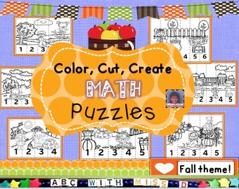 I Can Count to Five! Printable fall-themed math activity for classroom, homeschool, preschool learning. Math counting, coloring puzzle game