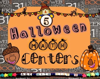 Halloween-Themed Math Centers-Teaching-Homeschool-Puzzles, Coloring, Counting, Graphing, Matching, Five Halloween Math Activities