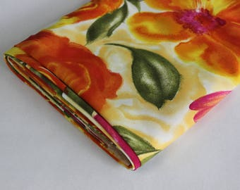 Yellow + orange + fuschia floral print polyester