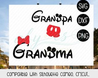grandma Grandpa disney svg, matching family disney, grandma minnie, grandpa mickey birthday disney mickey birthday minnie birthday, dxf, png