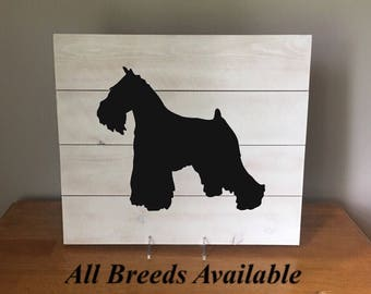 Miniature Schnauzer Silhouette on Reclaimed Wood Sign, Dog Decor, New Puppy Gift, Housewarming Gift, Gift for Dog People, Dog Silhouette