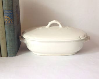 Antique White Ironstone Covered Vegetable Casserole Dish by Nassau 1800's