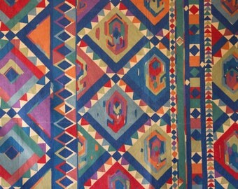 vintage 1980s Kasbah Collier Campbell geometric print cotton interiors fabric