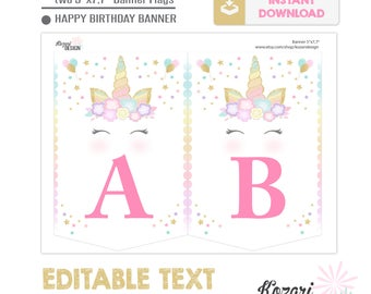Editable Unicorn Birthday Banner, Unicorn Party Decor, Instant Download