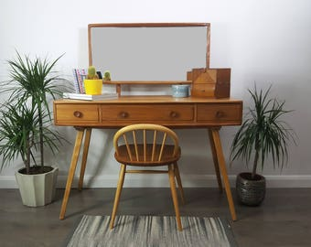 SOLD    Ercol Dressing Table & Mirror 1960s  -     Refinished