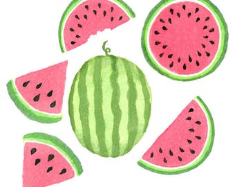 Watercolor Watermelon Clipart Set, Fruit, Food, Summer, Tropical, Ripe, Juicy, Illustration