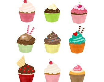 Delicious Cupcake Set, Clip art, Sweet, Berry, Dessert, Decorated, Various, Pastry, Baked, Celebrate