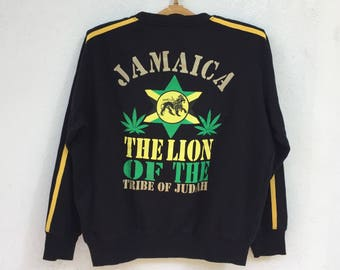 rare!!vintage 90s wonder wall jamaica the lion of the tribe of judah reggae rasta sweatshirt