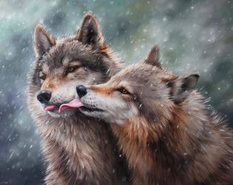 Kiss of the wolves, Wolves oil painting, Pair of wolves, Original wolves painting, Gift for a loved one