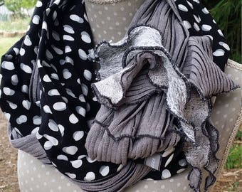 Designer black and gray scarf
