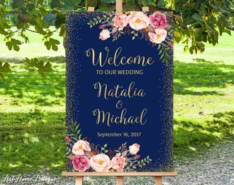 Welcome To Our Wedding Sign, Navy Welcome Wedding Sign, Large Welcome Sign, Wedding Signs Printable, Printable Welcome Sign