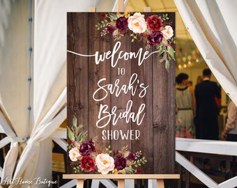 Welcome Bridal Shower Sign, Bridal Shower Welcome Sign, Large Welcome Sign, Floral Welcome Sign, Rustic Wood Welcome Sign, W86