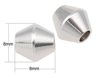 4/8/12 pieces 8x8mm Stainless Steel Bicone Beads