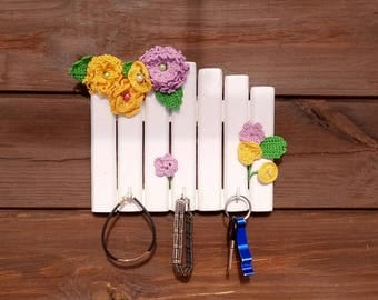 Crochet Flowers Wood Key Holder Crochet Jewelry Holder Colorful Woman Key Holder Spring Wood Key Holder  Girl Organizer Gift for Girlfriend