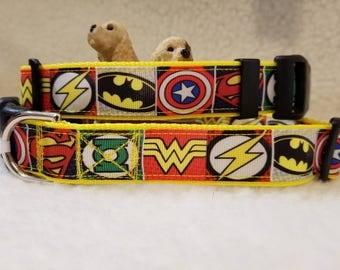 Super Heros Handmade Dog Collar 1 Inch Wide Large & Medium