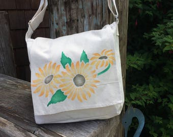 Sunflower festival bag, handpainted blooms on light cotton canvas messenger bag. Shoulder bag or crossbody summer purse, adjustable strap.