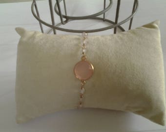 Bracelet with pearls and Crystal pink opal