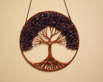 """12"""" Tree Of Life Wall Decor Hanging, Amethyst Wire Tree Sculpture"""