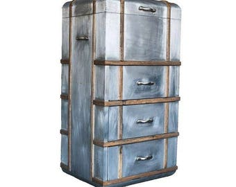 Go Home Antiqued Nickel Silver Steamer Chest