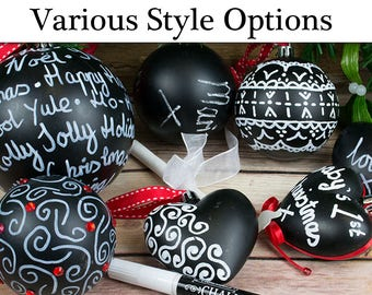 Decorate Your Own Blackboard Baubles Christmas Ornaments   Christmas Ornaments to Decorate