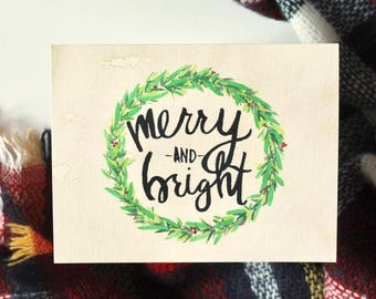 """Christmas Greeting Card Set, Blank Inside -- Hand LetteredWatercolor Holiday """"Merry and Bright"""" Note Cards"""