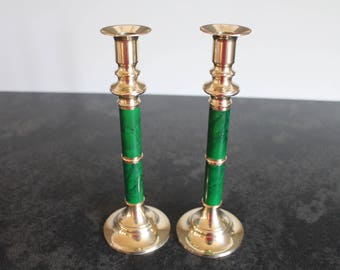 Faux Malachite and Brass Candlesticks, Christmas Tabletop