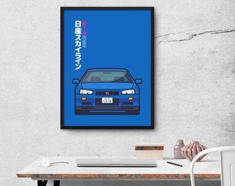Nissan Skyline GT-R R34 Car Poster Art Print Wall Art