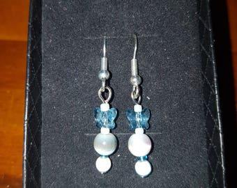 Butterfly crystal earrings.