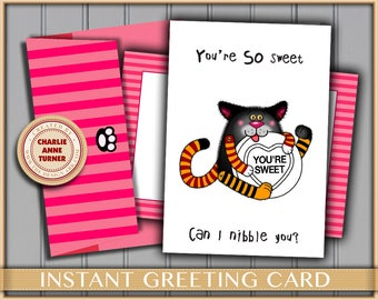 Love CAT greeting card instant digital download. With customisable choice of two envelopes and 3 FREE present tags.