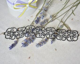 Bracelet Star Sky Tatted bracelet Black bracelet Tatting jewelry Women's bracelet Romantic bracelet Beaded braslet