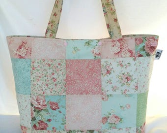 Patchwork Tote / Quilted Tote / Tote Bag / Shopping Bag / Shopper Tote / Bag / Designer Tote / Rose Tote